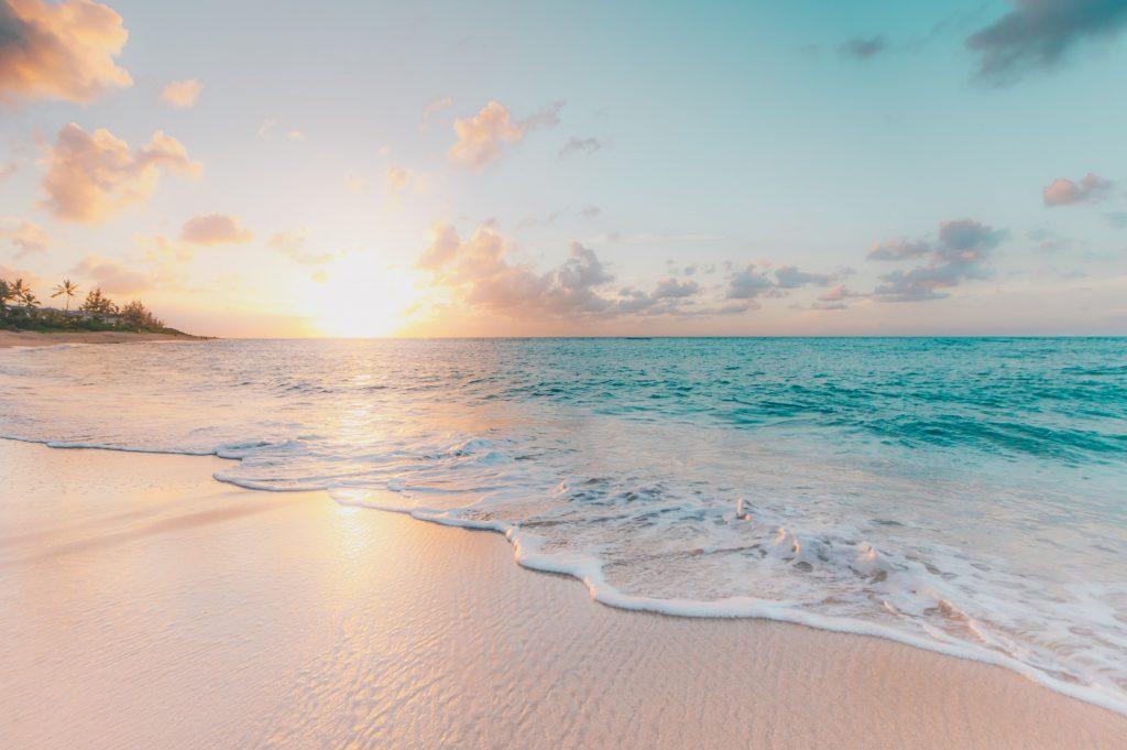 Beach at Sunrise or Sunset