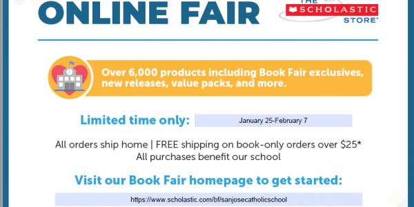 Online Scholastic Book Fair Jan 25 – Feb 7