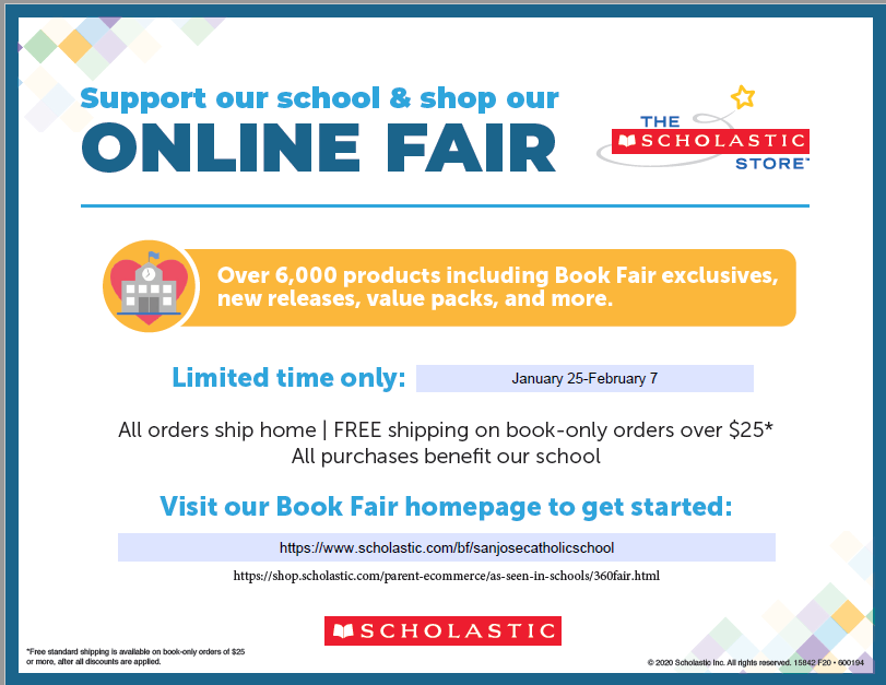 Online Scholastic Book Fair Jan 25 – Feb 7